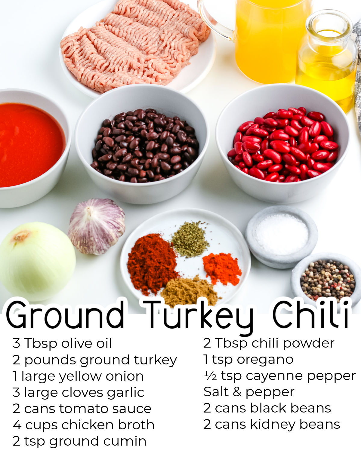 All of the ingredients needed to make this Ground Turkey Chili recipe.