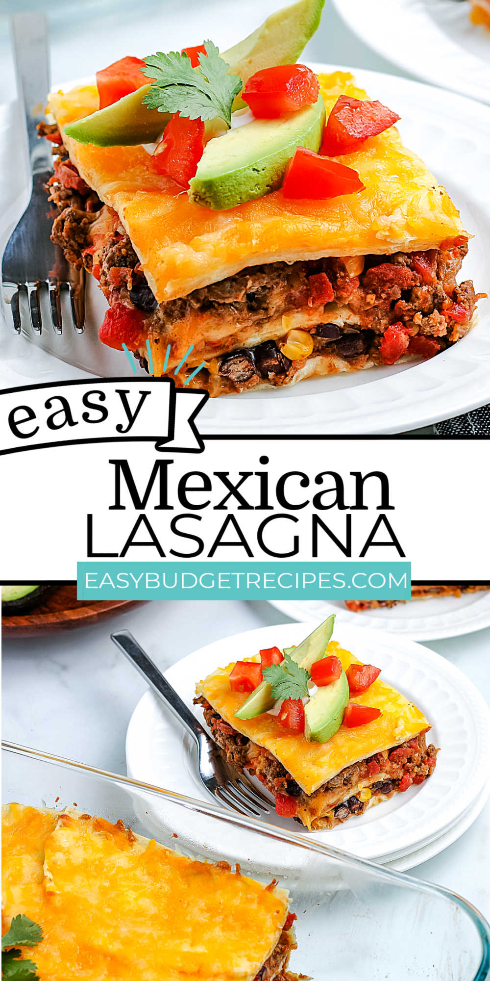 This Mexican Lasagna recipe is loaded with stacked tortillas, seasoned ground beef, Rotel tomatoes, corn, black beans, refried beans, and cheese. It's a freezer-friendly meal that's an easy weeknight dinner. via @easybudgetrecipes