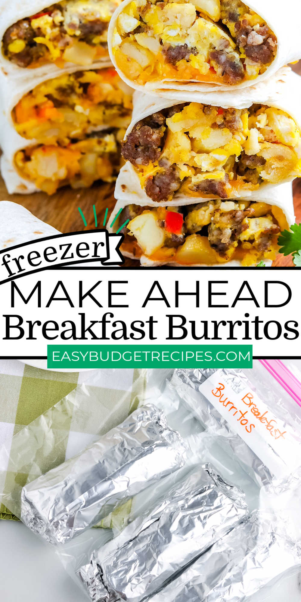 These Make-Ahead Breakfast Burritos are crave-worthy and great for busy mornings. They're freezer-friendly and filled with sausage, hash browns, peppers, eggs, and cheese. via @easybudgetrecipes