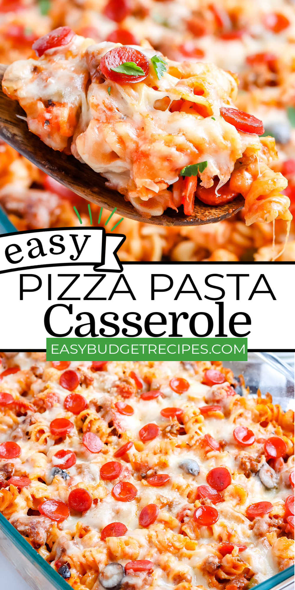 This Pizza Casserole recipe is loaded with rotini pasta, pizza toppings, and plenty of melted mozzarella cheese. It's a family favorite that's easy to make and feeds a crowd! via @easybudgetrecipes