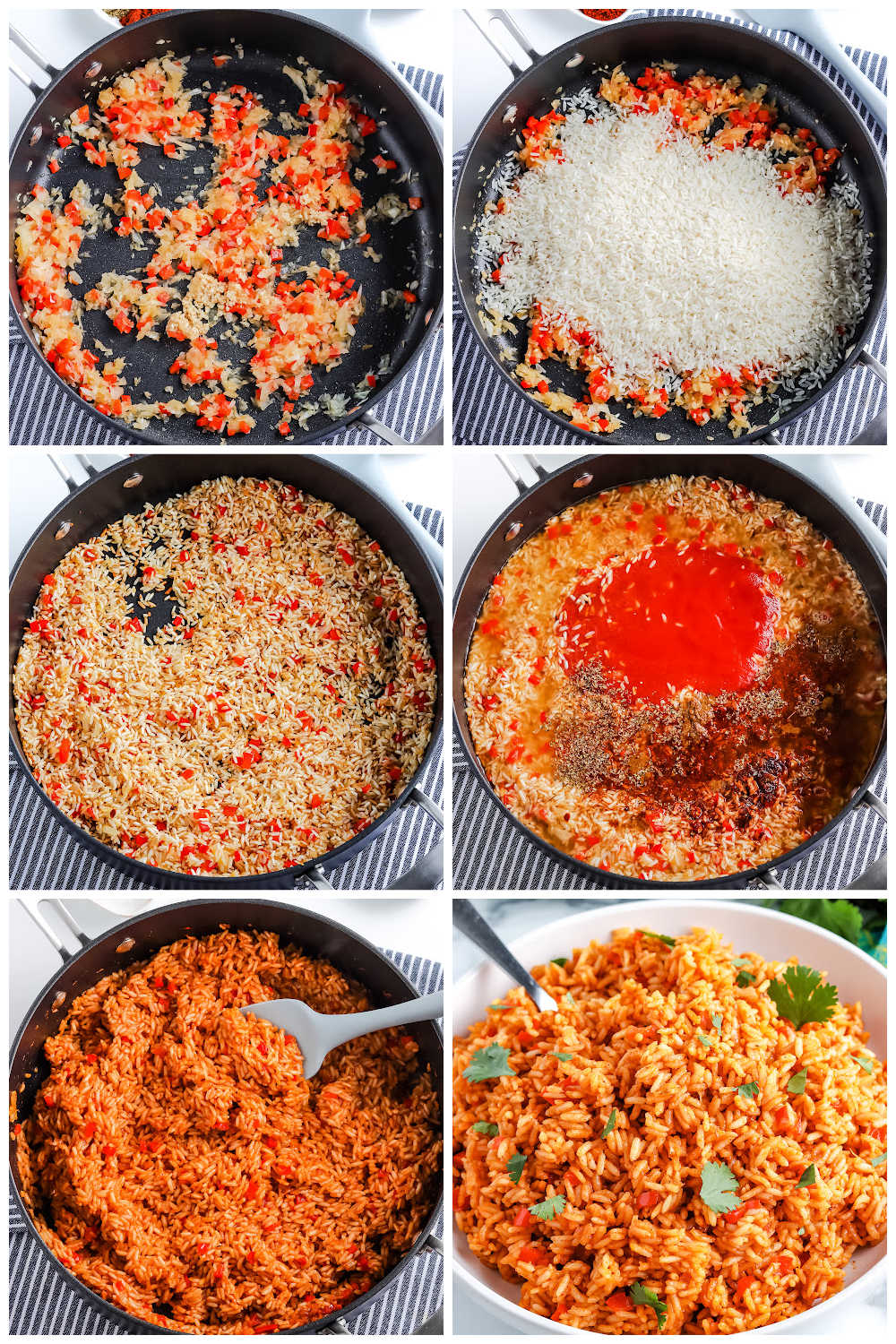 A picture collage of how to make this Spanish Rice recipe.