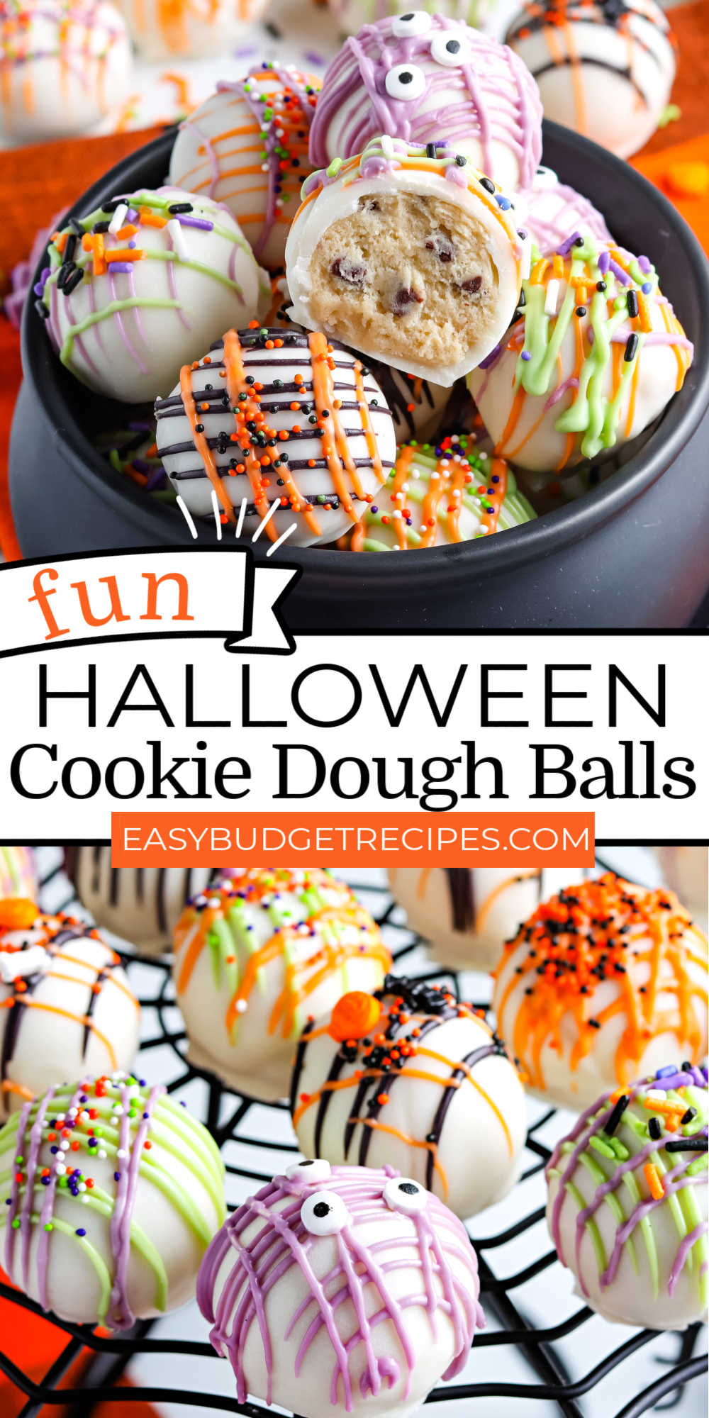 These Halloween Cookie Dough Balls are an easy no-bake treat that everyone loves. They're chunks of chocolate chip cookie dough that are dipped in chocolate and decorated for Halloween.  via @easybudgetrecipes