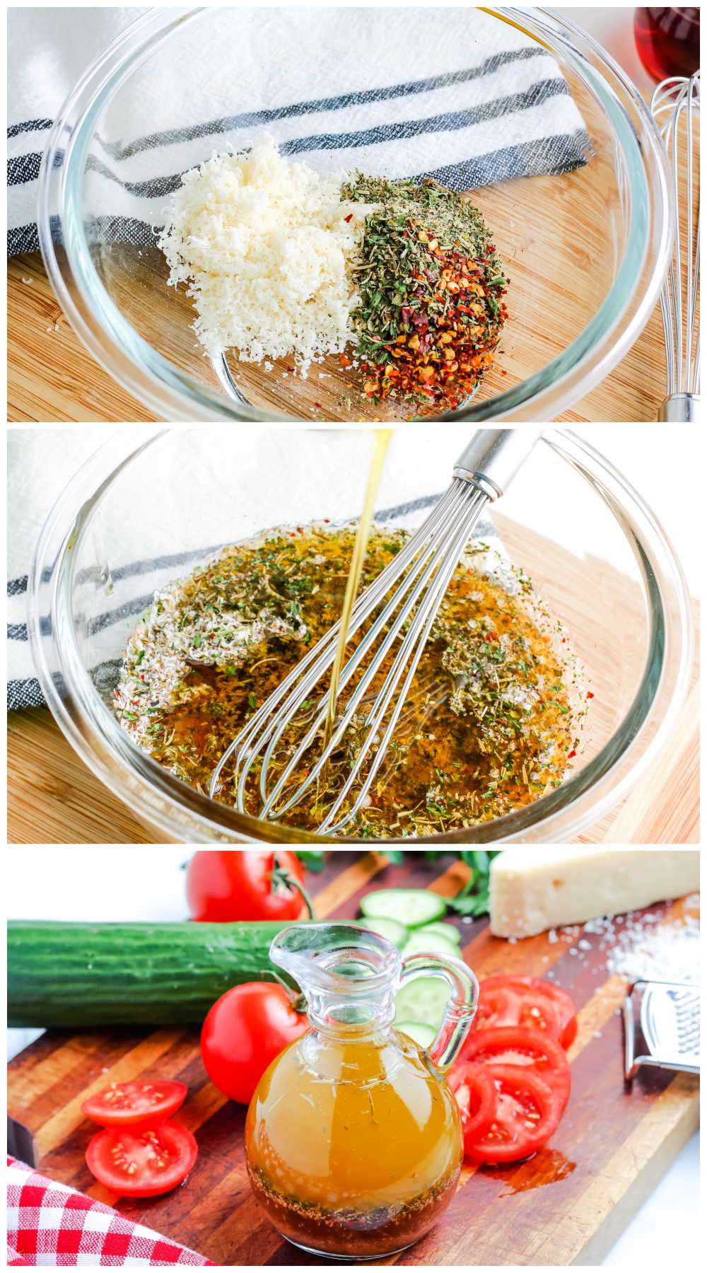 A picture collage of how to make homemade Italian dressing.