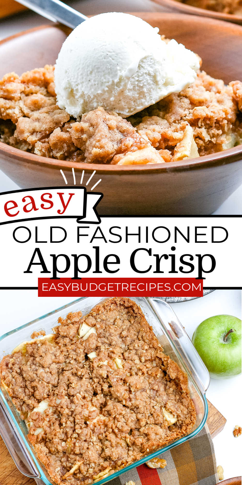 This Easy Apple Crisp is a fall comfort food classic for a reason. The warm baked apples and crisp, buttery topping are perfection. Add a scoop of ice cream and caramel sauce for an extra special treat.  via @easybudgetrecipes