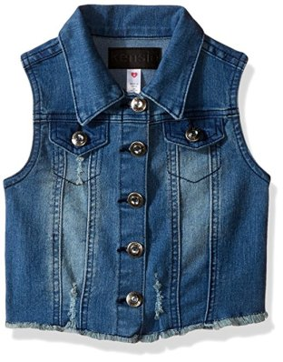 JoJo Siwa DIY Halloween costume-denim vest to layer over basic crew top.