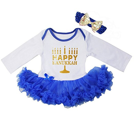 There are many different cute Hanukkah dresses for girls of all ages this holiday season.