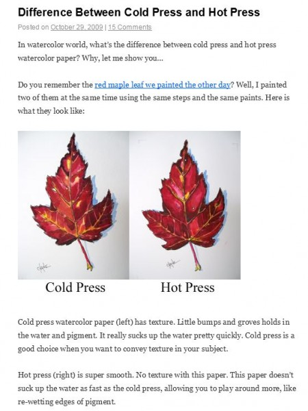 difference between hot press and cold press watercolor paper