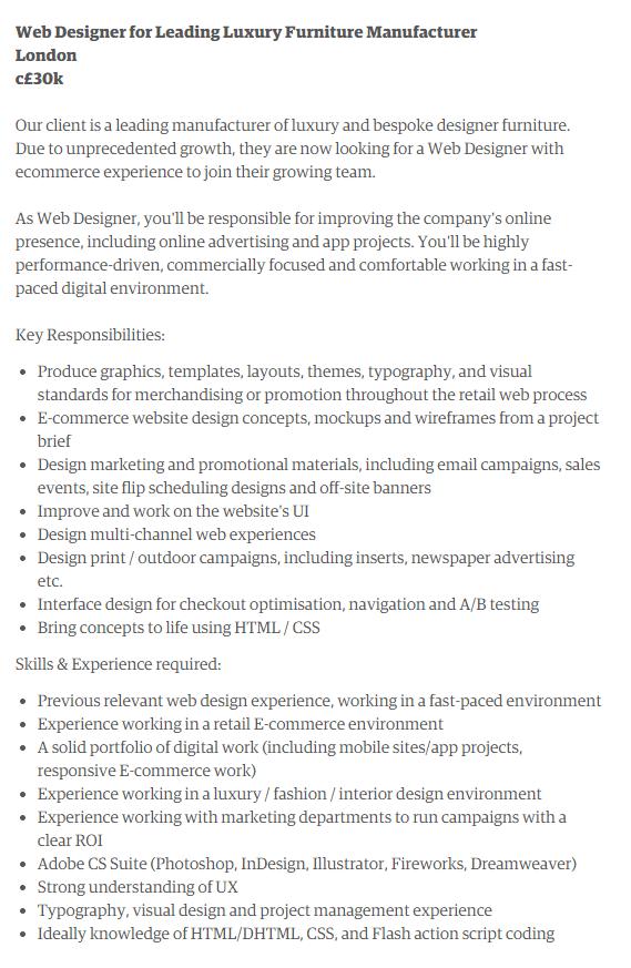 web designer job duties