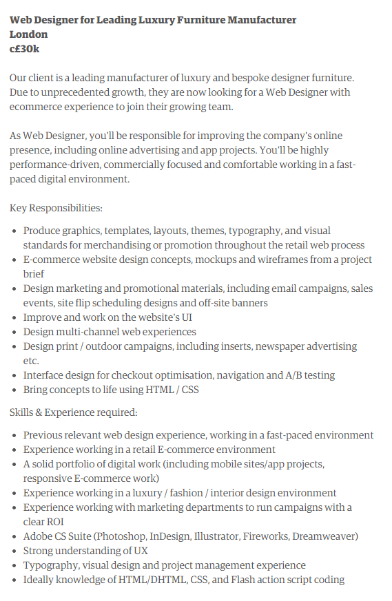 Talent Creative Company Web Designer Job Description