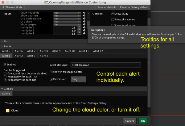 opening range initial balance levels indicator for thinkorswim SETTINGS 2