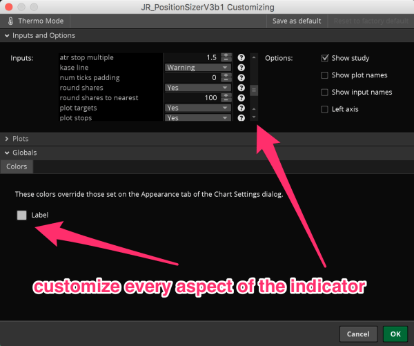thinkorswim position sizer - options & settings 3