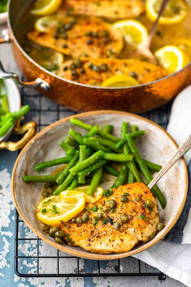 Plated Easy Chicken Piccata with lemon sauce and capers