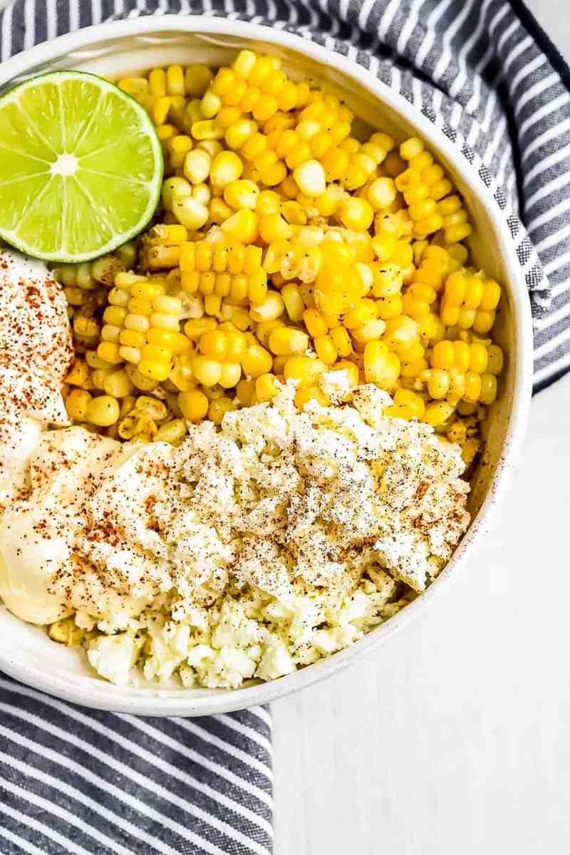 how to make street corn, ingredients shot