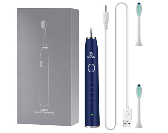 Amazon: Dennov Rechargeable Sonic Electric Toothbrush, with 2 Replacement Brush Head – $9.99