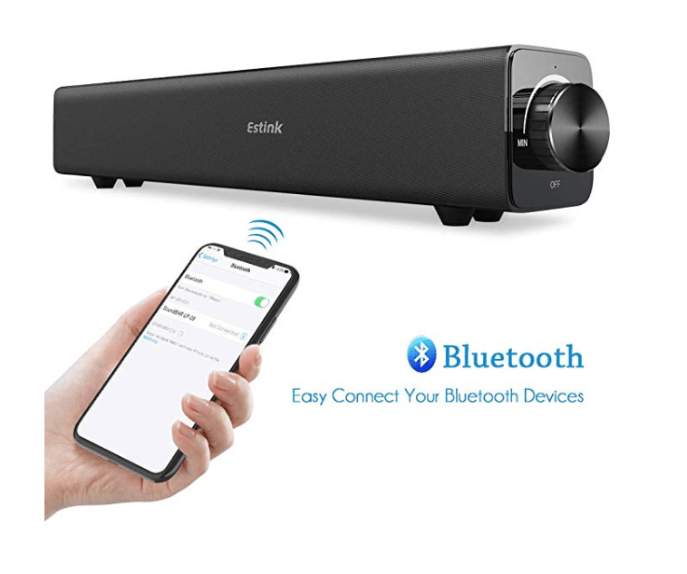 Amazon: Sound Bar Bluetooth Speaker, Soundbar TV Speakers Portable 20W Wired/Wireless Surround Sound Bars, Audio Stereo Home Theater System for TV PC Computer Tablet Laptop Phone Projector (Black) – $14.99