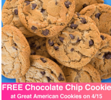 One Free Original Chocolate Chip Cookie from Great American Cookies on Monday, April 15th