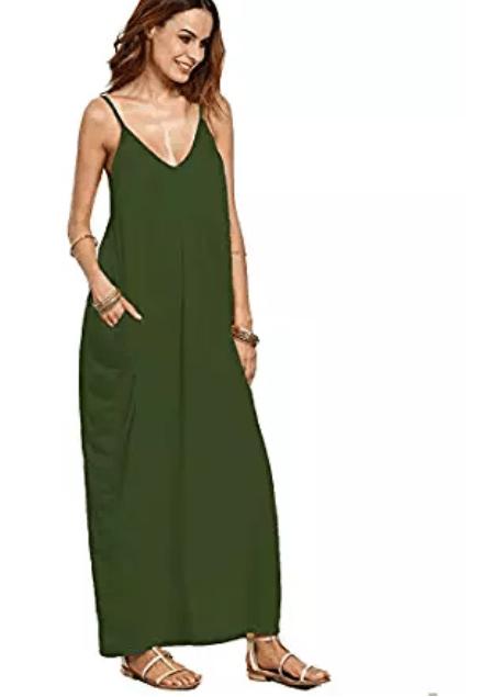 Amazon: Verdusa Women's Spaghetti Strap V-Neck Side Pockets Maxi Dress – $7.92