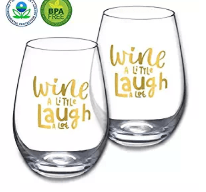 "Amazon: Gold Stemless Wine Glasses by Amallino 20- Ounce, for Red or White Wine Clear Glass Tumblers Set of 2 -"" Wine A Little Laugh A Lot"" – $5.95"