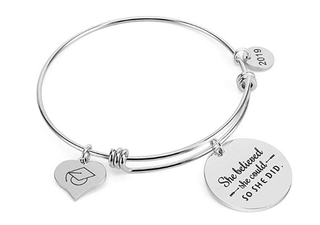 Amazon: 2019 Graduation Gifts Grad Cap Adjustable Jewelry Bracelet Engraved She Believed She Could So She Did for Her – $6.49