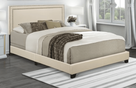 Walmart: Home Meridian Cream Upholstered Queen Bed with Nail Head Trim – $70