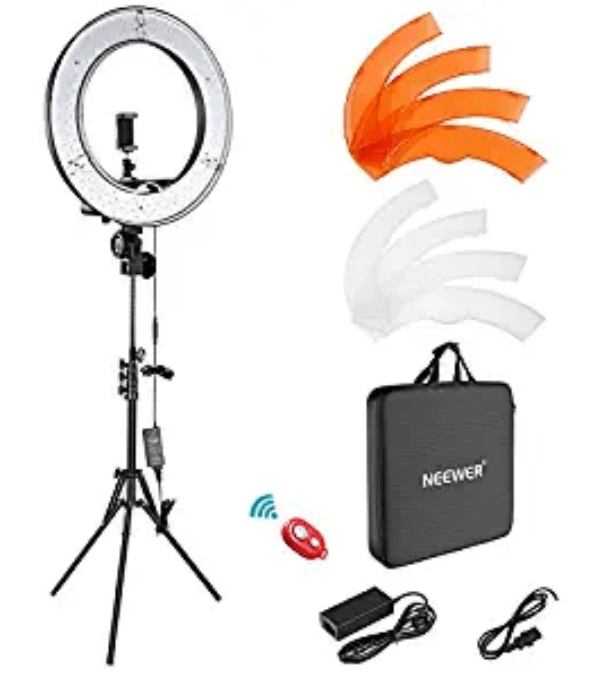 Amazon: Neewer Ring Light Kit:18″/48cm Outer 55W 5500K Dimmable LED Ring Light W/remote – $52