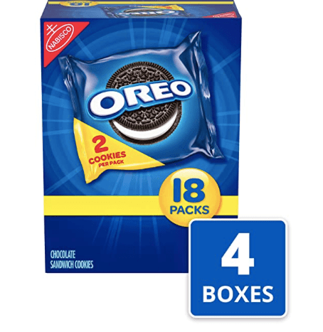 Amazon: OREO Chocolate Sandwich Cookies, 4 Boxes of 18 Snack Packs – $8.79