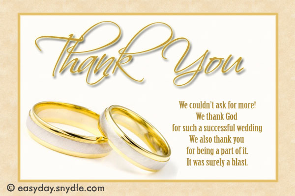 Wedding Thank You Card Wording Sles