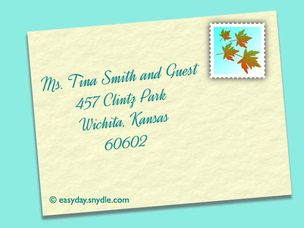 Address Wedding Envelopes For Single With Guest