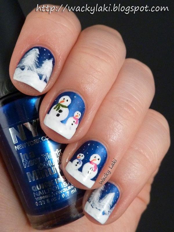 Snowman Nail Art On Dark Blue Base Source