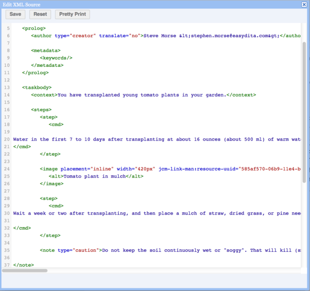learning task XML source code