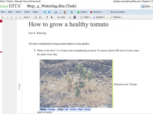learning task in easyDITA editor