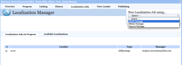 easyDITA's Localization Manager