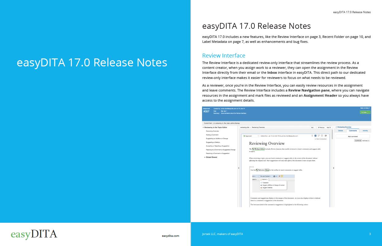 easyDITA Release notes screenshot