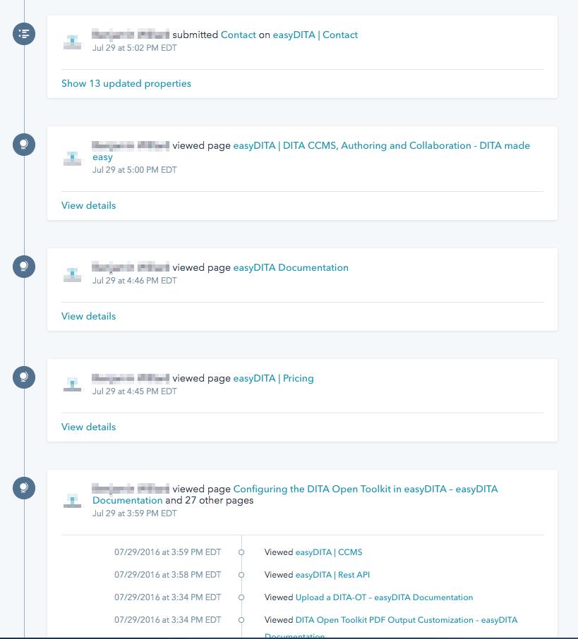 Hubspot contact activity history