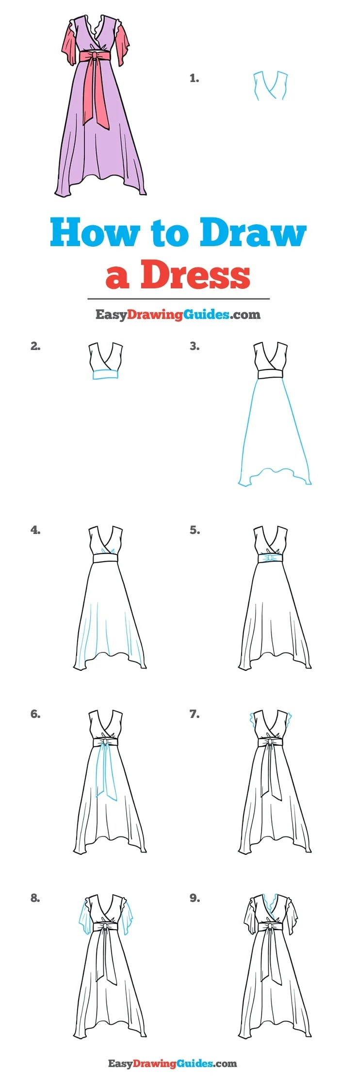 How To Draw A Dress Really Easy Drawing Tutorial