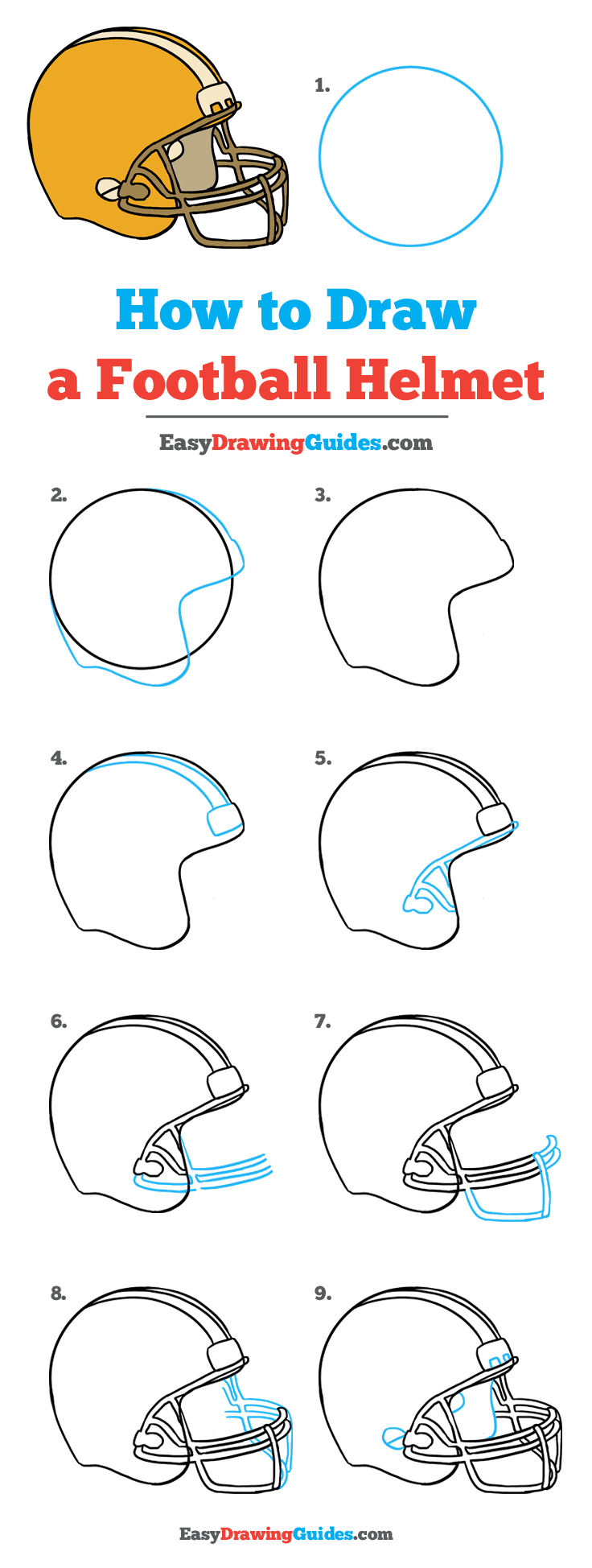 How To Draw A Football Helmet Really Easy Drawing Tutorial