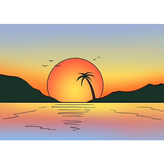 Sunset Water Over Drawing