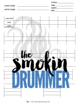 Blank Drum chart with blank 4 drum pattern tables in a row and 2 individual