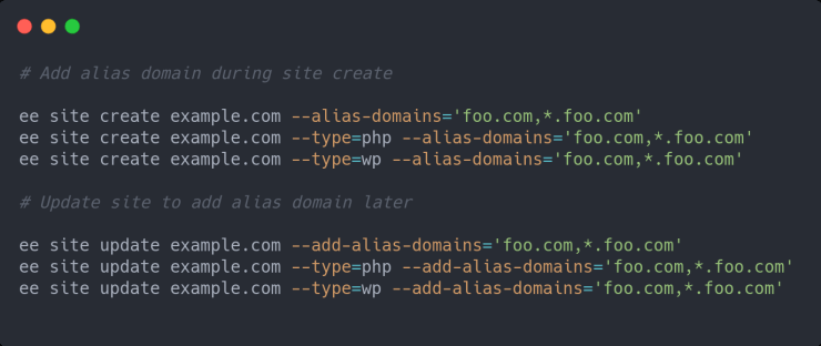 Feature added: Add Alias Domain Support in HTML, PHP and WP Site Types
