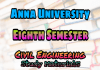 Anna University Civil Engineering (CE) Eighth Semester (8th Semester) Syllabus, Lecture Notes