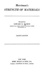 MERRIMAN'S STRENGTH OF MATERIALS REVISED BY EDWARD K. HANKIN BOOK