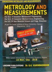 Metrology and Measurements By Dr.G.K.Vijayaraghavan, Lakshmi Publications