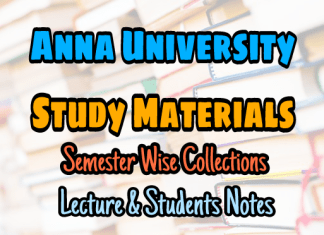 Anna University Semester Wise Lectures & Students Notes Collection – PDF Free Download