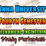 Anna University Mechanical Engineering Fourth Semester