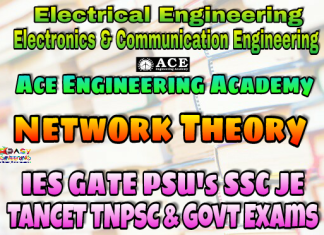 NETWORK THEORY ACE Engineering Academy IES GATE PSU's TNPSC TANCET & GOVT EXAMS Study Materials