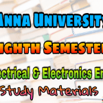 Anna University Electrical and Electronics Engineering Eighth Semester