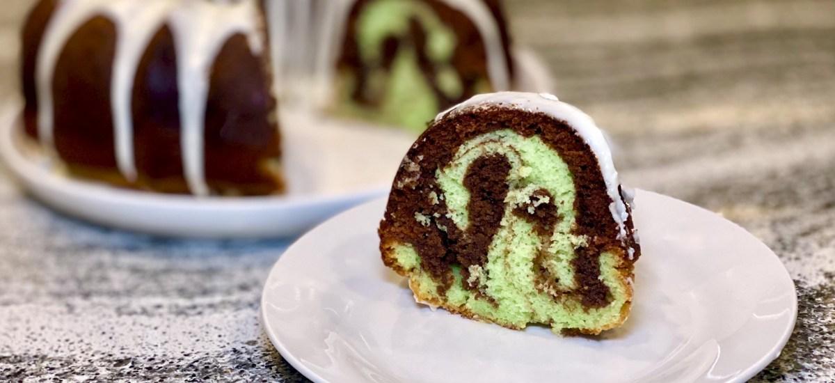 Chocolate Pistachio Swirl Cake