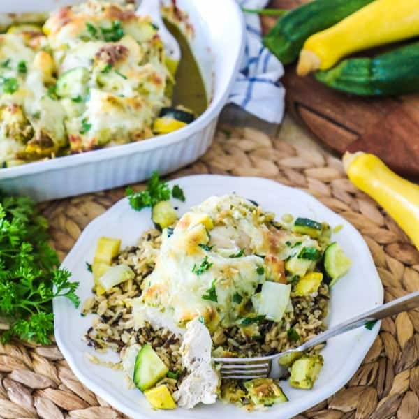 Baked Chicken and Zucchini with wild rice