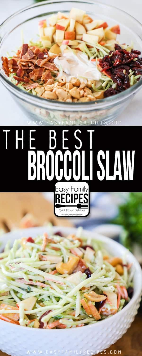 Broccoli Slaw Ingredients and tossed with dressing