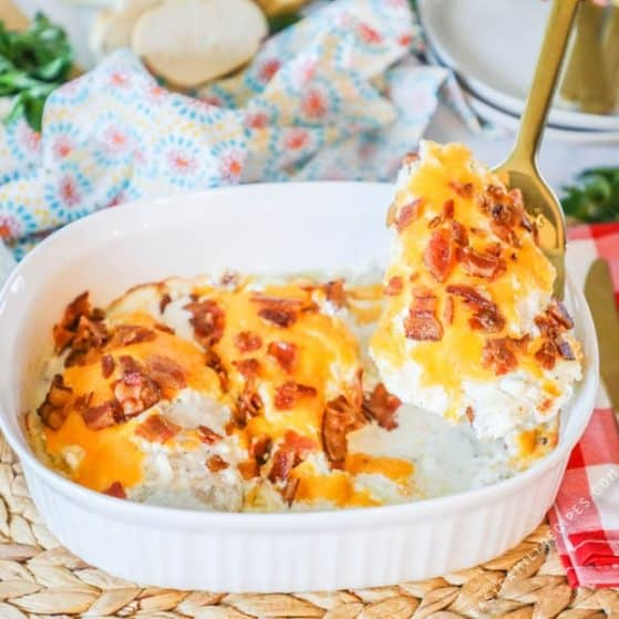 Serving Chicken Bacon Ranch from Casserole Dish